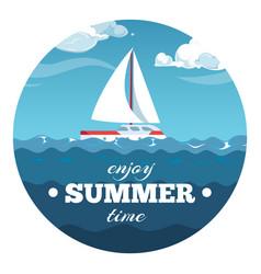 enjoy summer time postcard design sea vector image vector image