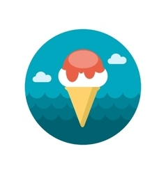 Ice Cream flat icon with long shadow vector image vector image