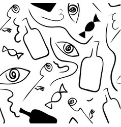 linear seamless black-white pattern in surrealism vector image vector image