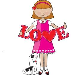 little girl love vector image