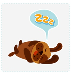 cute cartoon dog is sleeping vector image vector image