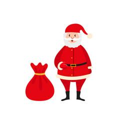 cute santa claus and big bag of christmas presents vector image