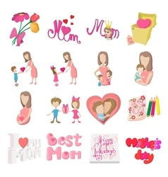 Mother Day cartoon icons vector image vector image