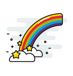 rainbow with stars and clouds cute black outline vector image