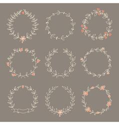 Set hand drawn wreaths vector image vector image