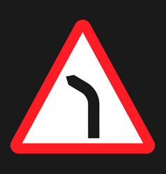 bend to left warning sign flat icon vector image vector image