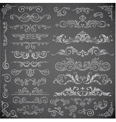 dark set of swirl elements for frame design vector image vector image