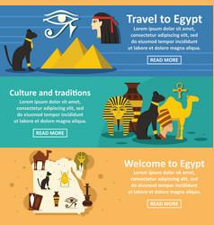 egypt travel banner horizontal set flat style vector image