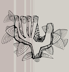 Greeting contoured black hand vector image vector image