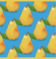 seamless pattern ripe yellow pears vector image