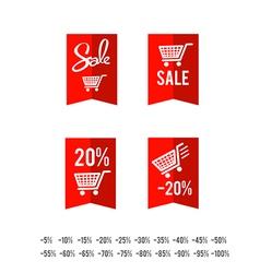 Set of sale tag circle banner ribbon paper 005 vector image