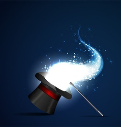 wand and magical hat vector image