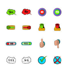 Yes and no icons set cartoon vector