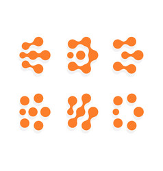 abstract dots shape different orange circles vector image