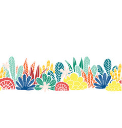 Abstract plants collage seamless border vector