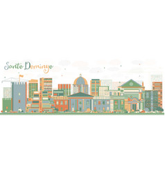 Abstract santo domingo skyline with color vector