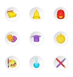 Academy icons set cartoon style vector
