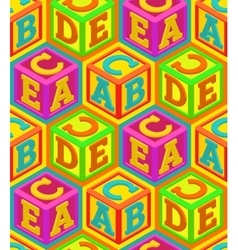 Alphabet cubes seamless pattern vector