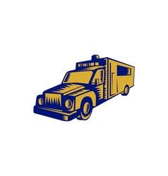 Ambulance Emergency Vehicle Truck Woodcut vector image vector image