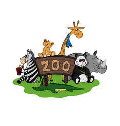 animals zoo set cute images vector image