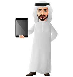 arab businessman holding a tablet vector image