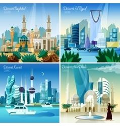 Arabic Cityscape 4 Flat Icons Square vector
