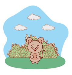 Bear in bushy lanscape cartoon vector