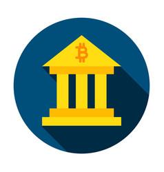 Bitcoin building circle icon vector