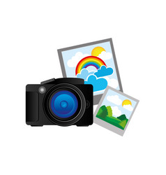 Black camera with pictures icon vector