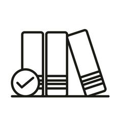 Books check mark online education and development vector