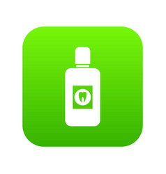 bottle of mouthwash icon digital green vector image
