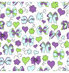 bow ribbon heart flowers seamless pattern vector image