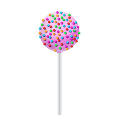 Cake pop dessert with pink frosting and colored vector