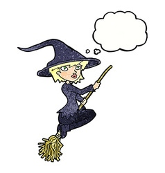 Cartoon witch riding broomstick with thought vector