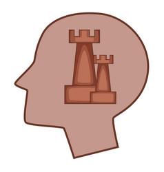 Castle inside human head icon cartoon style vector