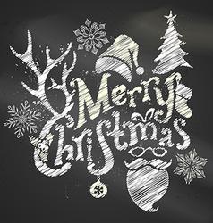 Chalk Merry Christmas Design vector