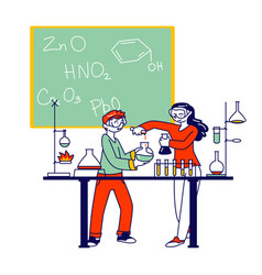 Children characters study chemistry in classroom vector
