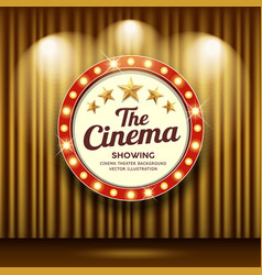 cinema theater and circle sign red and gold vector image