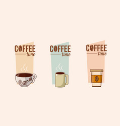 coffee time concept with elements vector image