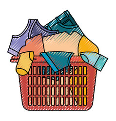 colored crayon silhouette of laundry basket with vector image