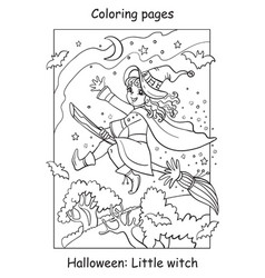 Coloring halloween flying little witch on broom vector
