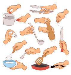 Cooking hands chef preparing food on frying vector