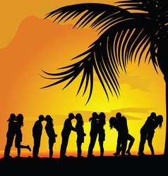 Couples kissing under palm trees silhouette vector
