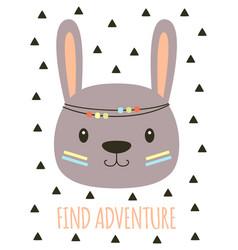Cute cartoon tribal rabbit card vector