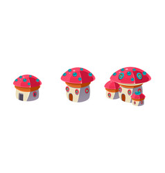 cute little mushroom houses set city or town vector image