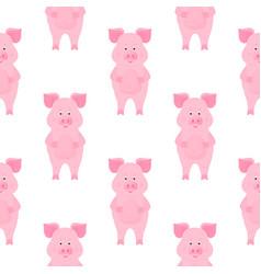 cute pig cartoon characters piggy funny animal vector image