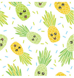 cute pineapple faces seamless repeat pattern vector image