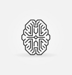 Digital brain outline icon cyberbrain vector
