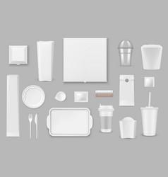 disposable tableware realistic mockups vector image