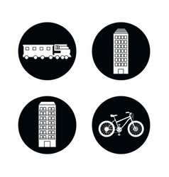 drawings buildings train bike isolated vector image